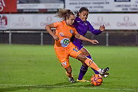Gent's forward Jasmien Mathys (12) and Anderlecht forward Mariam Toloba (19) pictured during a female soccer game between RSC Anderlecht Dames and AA Gent Ladies on the seventh matchday of the 2020 - 2021 season of Belgian Womens Super League , friday 13 th of November 2020  in Overijse , Belgium . PHOTO SPORTPIX.BE | SPP | STIJN AUDOOREN