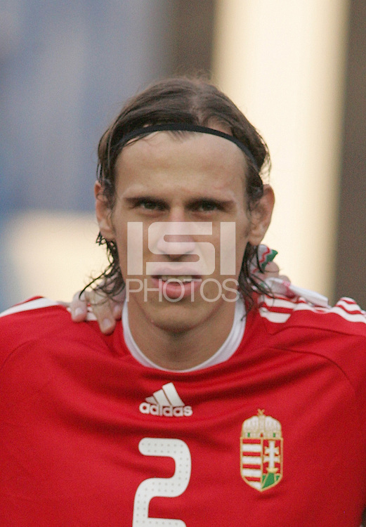 Hungary's Janos Szabo (2) stands on the field before the game against Ghana at the FIFA Under 20 World Cup Semi-final match at the Cairo International Stadium in Cairo, Egypt, on October 13, 2009. Costa Rica won the match 1-2 in overtime play. Ghana won the match 3-2.