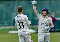 23rd September 2021; Aigburth, Liverpool, Merseyside, England; LV=Country Cricket Championship; Lancashire versus Hampshire; Lancashire captain Dane Vilas is congratulated by Matt Parkinson after hitting the winning run to give his side a one wicket win and keeps them in the title race hoping for a result that will win them the league
