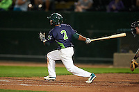 Vermont Lake Monsters second baseman Jesus Lopez (2) at bat during a game against the Hudson Valley Renegades on September 3, 2015 at Centennial Field in Burlington, Vermont.  Vermont defeated Hudson Valley 4-1.  (Mike Janes/Four Seam Images)