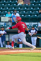 Palm Beach Cardinals Carlos Soto (35) bats during a game against the Bradenton Marauders on May 29, 2021 at LECOM Park in Bradenton, Florida.  (Mike Janes/Four Seam Images)