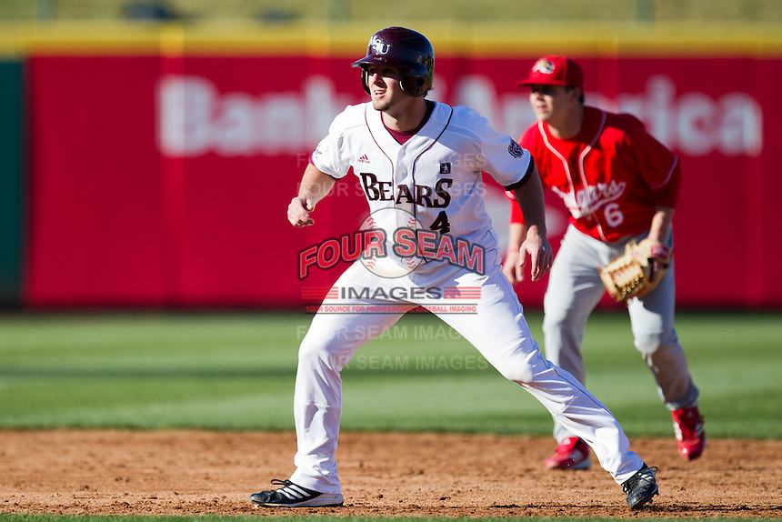 Brent Seifert (4) of the Missouri State Bears leads off second base during a game against the Southern Illinois University- Edwardsville Cougars at Hammons Field on March 9, 2012 in Springfield, Missouri. (David Welker / Four Seam Images)