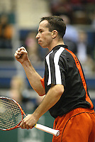 23-2-06, Netherlands, tennis, Rotterdam, ABNAMROWTT,Radek Stepanek in jubilation, he defeaded  Fabrice Santoro