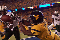 WVU wide receiver Jock Sanders was unable to hold on to this potential touchdown pass. The West Virginia Mountaineers defeated the South Florida Bulls 20-6 on October 14, 2010 at Mountaineer Field, Morgantown, West Virginia.