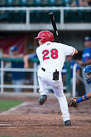 Orem Owlz catcher Griffin Barnes (28) at bat during a Pioneer League game against the Ogden Raptors at Home of the OWLZ on August 24, 2018 in Orem, Utah. The Ogden Raptors defeated the Orem Owlz by a score of 13-5. (Zachary Lucy/Four Seam Images)