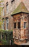 Late Gothic Bay Window 1514, Augustijnenrei at Vlamingstraat, Bruges, Brugge, Belgium