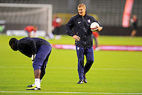 Chris Woods (r), coach of the goalkeeper of team USA, at the warm up during the friendly match Belgium against USA at King Baudoin stadium in Brussel, Belgium on September 06th, 2011.