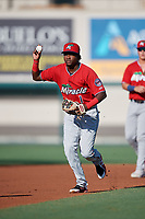 Fort Myers Miracle shortstop Yeltsin Encarnacion (1) during a Florida State League game against the Lakeland Flying Tigers on August 3, 2019 at Publix Field at Joker Marchant Stadium in Lakeland, Florida.  Lakeland defeated Fort Myers 4-3.  (Mike Janes/Four Seam Images)