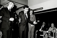 Montreal (QC) Canada- - Nov 24, 1984 File Photo -election campaign - PQ Leader Pierre-Marc Johnson (L) campaign in  Andree Boulerice (M) riding during the 1984 provincial election