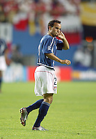 Landon Donovan starts off the game. The USA lost 3-1 against Poland in the FIFA World Cup 2002 in Korea on June 14, 2002.
