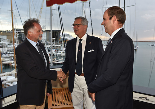 From left: Italy's tourism minister Massimo Garavaglia with YCI president Gerolamo Bianchi and Richard Brisius, race director of The Ocean Race at the announcement in Genoa on Sunday 19 September