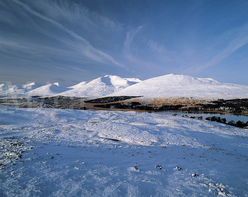 The hills of the Blackmount range thickly covered with snow; Loch Tulla just visible, Rannoch Moor, Scottish Highland