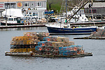 Multicolored lobster traps on float, Boothbay Harbor, Maine