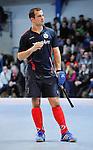 MANNHEIM, DEUTSCHLAND, FEBRUAR 01: Viertelfinale in der 1. Hockey Bundesliga der Herren, Hallensaison 2013/2014. Begegnung zwischen dem Mannheimer HC (blau) und RW Köln (rot) am 01. Februar, 2013 in der Irma-Röchling-Halle in Mannheim, Deutschland. Endstand 4-6. (4-1) (Photo by Dirk Markgraf / www.265-images.com) *** Local caption *** #5 Tomas Prochazka vom Mannheimer HC