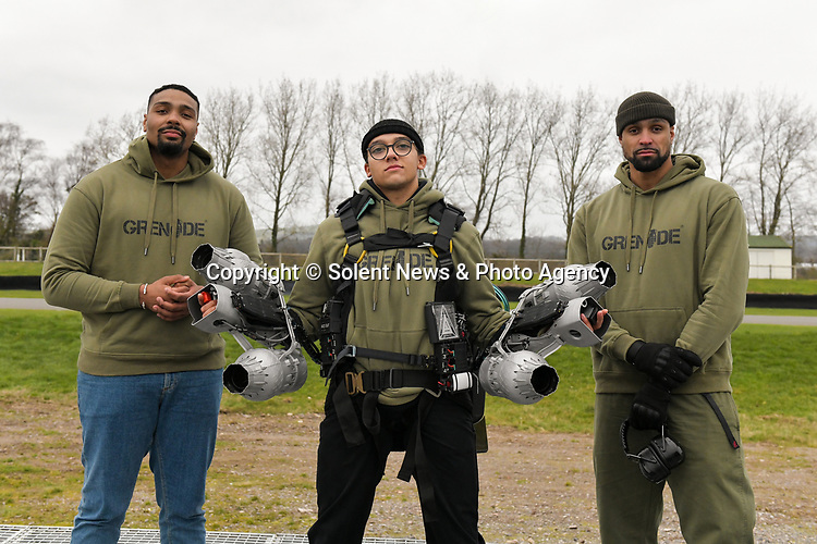 """Pictured: Members of dance troupe Diversity Jordan Banjo, Perri Kiely and Ashley Banjo test out the Gravity jet suit at Goodwood Aerodrome. <br /> <br /> Dance troupe Diversity, known for flying through the air in their stage performances, today took to the air outside - with jetpacks strapped to their hands.  Diversity members including founder Ashley Banjo, Jordan Banjo and Perri Kiely, donned Gravity Industries' cutting edge human-flight suit and took to the skies powered by Grenade Energy.<br /> <br /> Ashley, 32, said: """"Ahead of the day we were certain Pel would smash it, he's annoyingly very good at pretty much everything he puts his energy into.  SEE OUR COPY FOR DETAILS.<br /> <br /> © Solent News & Photo Agency<br /> UK +44 (0) 2380 458800"""