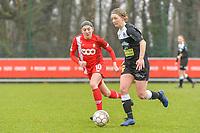 Niekie Pellens (41) of Eendracht Aalst and Noemie Gelders (10) of Standard pictured during a female soccer game between Standard Femina de Liege and Eendracht Aalst on the 12 th matchday of the 2020 - 2021 season of Belgian Scooore Womens Super League , saturday 30 th of January 2021 in Angleur , Belgium . PHOTO SPORTPIX.BE   SPP   STIJN AUDOOREN