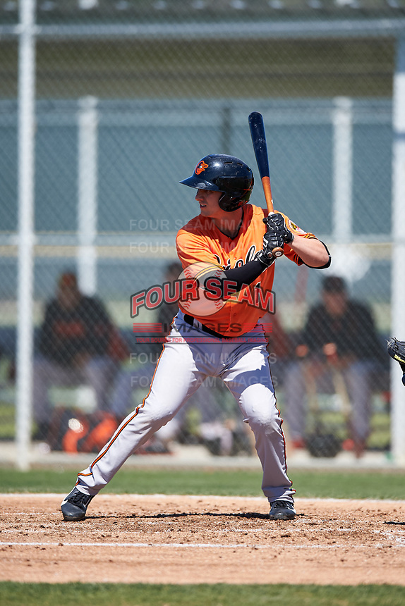 Baltimore Orioles Branden Becker (1) at bat during a minor league Spring Training game against the Minnesota Twins on March 17, 2017 at the Buck O'Neil Baseball Complex in Sarasota, Florida.  (Mike Janes/Four Seam Images)