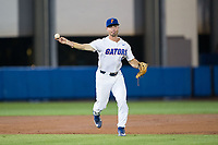 Florida Gators third baseman Jonathan India (6) makes a throw to first base against the Wake Forest Demon Deacons in Game One of the Gainesville Super Regional of the 2017 College World Series at Alfred McKethan Stadium at Perry Field on June 10, 2017 in Gainesville, Florida.  The Gators defeated the Demon Deacons 2-1 in 11 innings.  (Brian Westerholt/Four Seam Images)