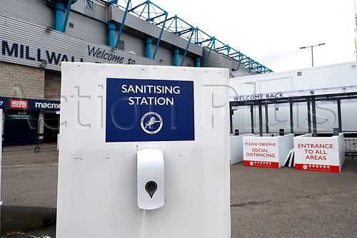 21st November 2020; The Den, Bermondsey, London, England; English Championship Football, Millwall Football Club versus Cardiff City; Sanitising Station outside The Den Stadium due to the pandemic