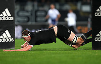 NZ's Brodie Retallick scores during the Bledisloe Cup rugby match between the New Zealand All Blacks and Australia Wallabies at Eden Park in Auckland, New Zealand on Saturday, 14 August 2021. Photo: Simon Watts / lintottphoto.co.nz / bwmedia.co.nz