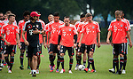 Players of Bayern Munich run during a training session ahead the friendly match against VfL Wolfsburg as part of the Audi Football Summit 2012 on July 26, 2012 at the Tianhe Sports Stadium in Guangzhou, China. Photo by Victor Fraile / The Power of Sport Images