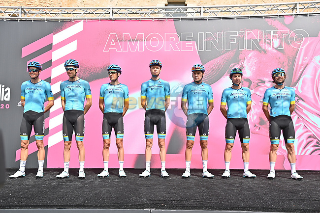 Astana Pro Team at sign on before the start of Stage 2 of the 103rd edition of the Giro d'Italia 2020 running 149km from Alcamo to Agrigento, Sicily, Italy. 4th October 2020.  <br /> Picture: LaPresse/Gian Mattia D'Alberto | Cyclefile<br /> <br /> All photos usage must carry mandatory copyright credit (© Cyclefile | LaPresse/Gian Mattia D'Alberto)