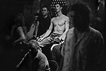 Bondage club, called the Hellfire Dungeon Club, Kings Cross Sydney Australia. 2000. Young men watch the performance.