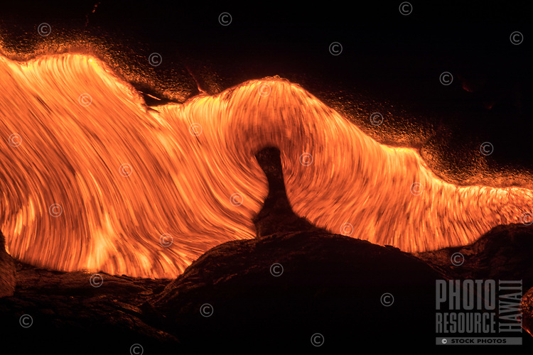 Molten Silk:  Glowing lava flows like molten silk, Hawai'i National Park, Puna district, Hawai'i Island, October 2017.
