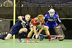 Berlin, Germany, January 31: During the 1. Bundesliga Herren Hallensaison 2014/15 semi-final hockey match between Rot-Weiss Koeln (dark blue) and Club an der Alster (red) on January 31, 2015 at the Final Four tournament at Max-Schmeling-Halle in Berlin, Germany. Final score 4-3 (2-2). (Photo by Dirk Markgraf / www.265-images.com) *** Local caption *** (L-R) Mats Grambusch #4 of Rot-Weiss Koeln, Julian Hofmann-Jeckel #24 of Club an der Alster, Victor Aly #30 of Rot-Weiss Koeln
