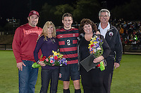 November 13, 2013: JJ Koval and his family during the senior day ceremony before the Stanford vs Cal men's soccer match in Stanford, California.  Stanford won 2-1 in overtime.