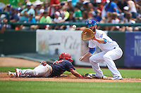 South Bend Cubs first baseman Matt Rose (17) waits for a pickoff throw as Jose Martinez (37) dives back to the bag during the first game of a doubleheader against the Peoria Chiefs on July 25, 2016 at Four Winds Field in South Bend, Indiana.  South Bend defeated Peoria 9-8.  (Mike Janes/Four Seam Images)