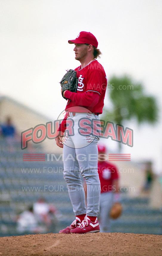 St. Louis Cardinals pitcher Les Lancaster (50) during Spring Training 1993 at Joker Marchant Stadium in Lakeland, Florida.  (MJA/Four Seam Images)