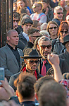 The  funeral of Prodigy singer Keith Flint at St Marys Church in Bocking,  Essex today. Mourners leave the service and band members Maxim (Keith Palmer) and Leeroy Thornhill can be seen leaving through the  front gates of the church.