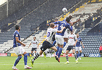 Preston North End's Jayden Stockley jumps with Cardiff City's Sean Morrison<br /> <br /> Photographer Mick Walker/CameraSport<br /> <br /> The EFL Sky Bet Championship - Preston North End v Cardiff  City - Saturday 27th June 2020 - Deepdale Stadium - Preston<br /> <br /> World Copyright © 2020 CameraSport. All rights reserved. 43 Linden Ave. Countesthorpe. Leicester. England. LE8 5PG - Tel: +44 (0) 116 277 4147 - admin@camerasport.com - www.camerasport.com
