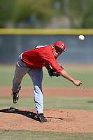 Los Angeles Angels pitcher Elliot Morris (43) during an Instructional League game against the Milwaukee Brewers on October 11, 2013 at Tempe Diablo Stadium Complex in Tempe, Arizona.  (Mike Janes/Four Seam Images)