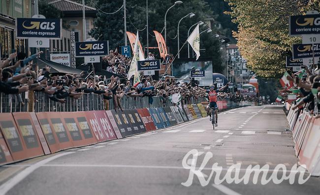 Vincenzo Nibali (ITA/Bahrain-Merida) arriving solo in Como, taking his 2nd Lombardia win<br /> <br /> Il Lombardia 2017<br /> Bergamo to Como (ITA) 247km
