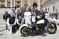 BNPS.co.uk (01202 558833)<br /> Pic: Bonhams/BNPS<br /> <br /> Pope Francis is presented with the massive motor at the Vatican....<br /> <br /> Holy Davidson - They may be a symbol of the Hells Angels movement but a Harley Davidson hand signed by the Pope has emerged for sale for £100,000.<br /> <br /> The 1,570cc 'holy Davidson' was built in 2016 having been commissioned by Dr Thomas Draxler, founder of the 'Jesus Bikers' group in Austria.<br /> <br /> It has spent its life with the group before it was taken to the Vatican and donated to the Papacy in July this year.