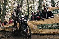 CX world champion Wout Van Aert (BEL/Crelan-Charles) splashing about...<br /> <br /> Elite Men's race<br /> Superprestige Gavere / Belgium 2017