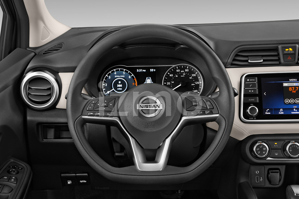 Car pictures of steering wheel view of a 2020 Nissan Versa SV 4 Door Sedan