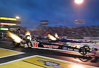 Jun. 1, 2012; Englishtown, NJ, USA: NHRA top fuel dragster driver Doug Kalitta during qualifying for the Supernationals at Raceway Park. Mandatory Credit: Mark J. Rebilas-