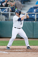 Luke Guarnaccia #25 of the Everett AquaSox at bat during a game against the Tri-City Dust Devils at Everett Memorial Stadium in Everett, Washington on July 28, 2014. Tri-City defeated Everett 6-5 in 11 innings.  (Ronnie Allen/Four Seam Images)