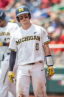 Michigan Wolverines catcher Joe Donovan (0) waits on deck during Game 11 of the NCAA College World Series against the Texas Tech Red Raiders on June 21, 2019 at TD Ameritrade Park in Omaha, Nebraska. Michigan defeated Texas Tech 15-3 and is headed to the CWS Finals. (Andrew Woolley/Four Seam Images)