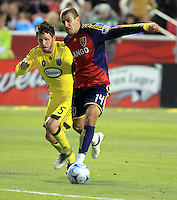 Danny O'Rourke (5) and Yura Movsisyan (14) in the Columbus Crew vs Real Salt Lake 1-4 RSL win at Rio Tinto Stadium in Sandy, Utah on April 2, 2009.