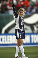06 November,  2004.  USWNT defender Brandi Chastain practices with her teammates before the game against Denmark at  Lincoln Financial Field in Philadelphia, Pa.