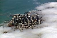 aerial photograph fog San Francisco, California
