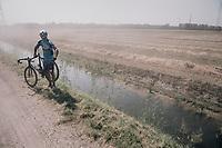 Maxence Moncassin (BEL/AGO-Aqua Service) eating dust while waiting for assistance<br /> <br /> 92nd Schaal Sels 2017 <br /> 1 Day Race: Merksem > Merksem (188km)
