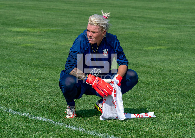 CLEVELAND, OH - SEPTEMBER 14: Jane Campbell of the United States rests on the field during a training session at the training fields on September 14, 2021 in Cleveland, Ohio.
