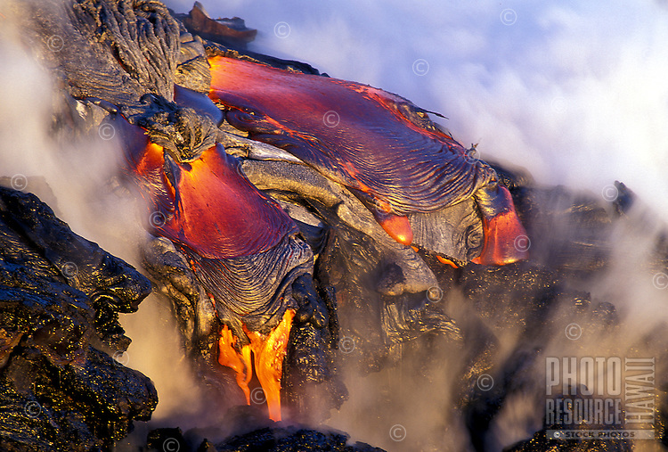 Active pahoehoe lave at Hawaii Volcanoes national park from Kilauea volcano