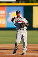 Carlos Perdomo #2 of the Lancaster JetHawks during a game against the Modesto Nuts at John Thurman Stadium on August 8, 2013 in Modesto, California. Modesto defeated Lancaster, 6-2. (Larry Goren/Four Seam Images)