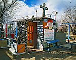 Decorative outhouse at Red Mountain,  San Bernardino County, California.(Historic mining/ghost town)